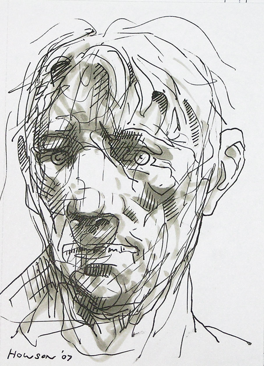 ink sketch of mans head by peter howson