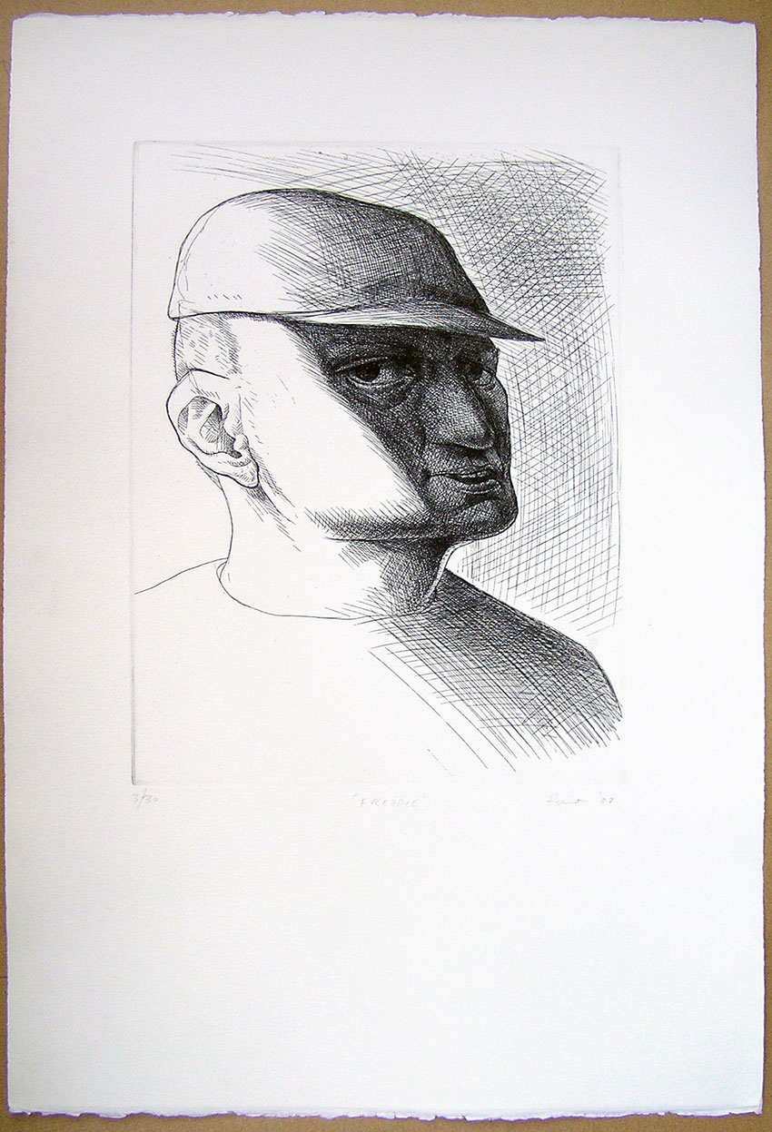 etching of ned in with baseball cap