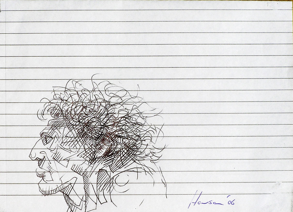 pen ink sketch mans head-big hair