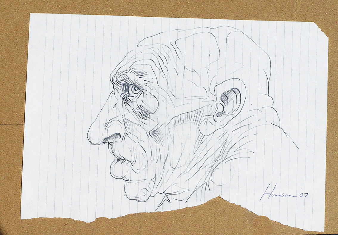 howson -ink sketch of mans head