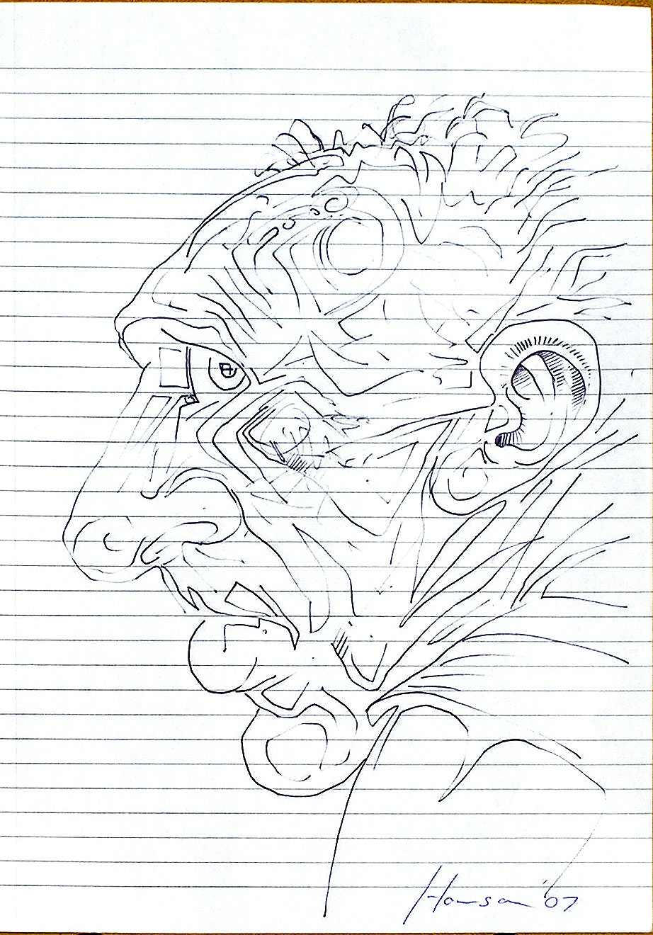 line sketch of man's head