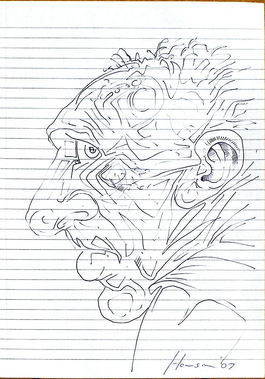 line sketch of man's head